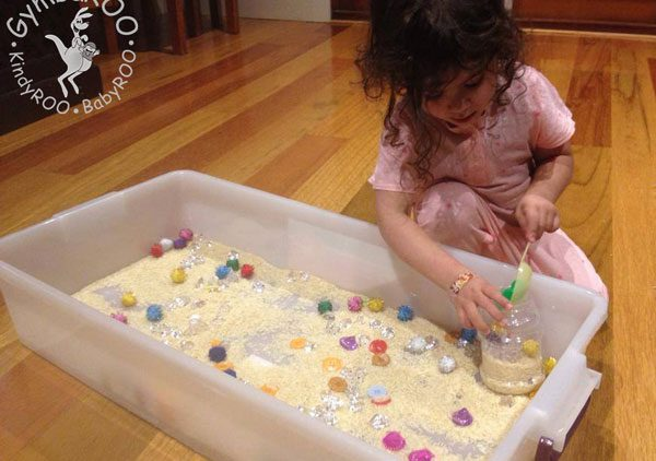 Sensory tubs with rice